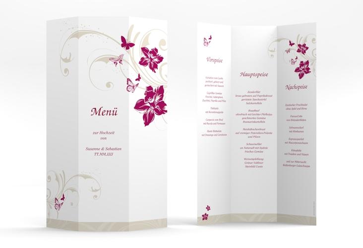"Menükarte  Hochzeit ""Parma"" DIN A4 Wickelfalz pink"