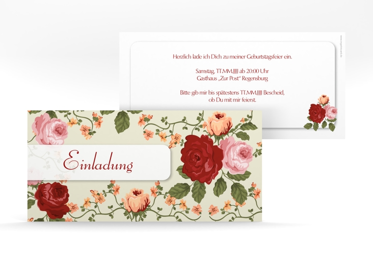 """Einladungskarte """"Rosemarie"""" DIN lang"""