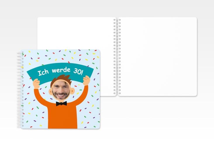 "Gästebuch Geburtstag ""Comic Man"" Ringbindung tuerkis"