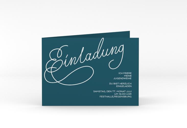"""Einladungskarte Jugendweihe """"Swinging"""" A6 Klappkarte Quer blau"""
