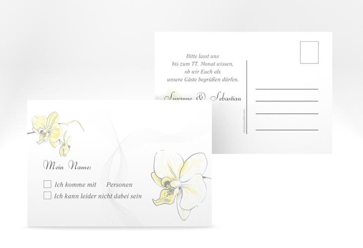 """Antwortkarte Hochzeit """"Modena"""" A6 Postkarte gelb"""