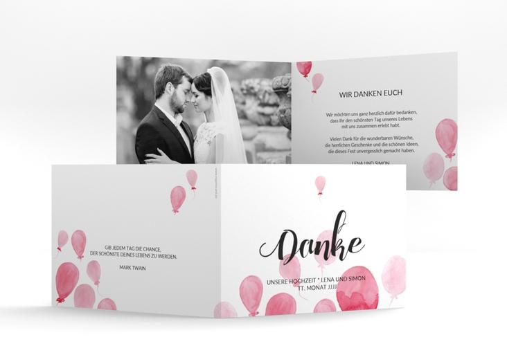 "Danksagungskarte Hochzeit ""Luftkuss"" A6 Klappkarte Quer"