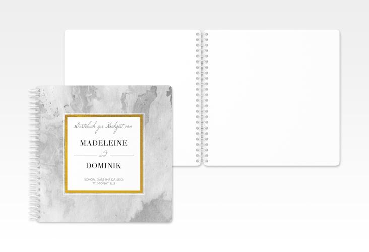 """Gästebuch Hochzeit """"Marble"""" Ringbindung grau"""