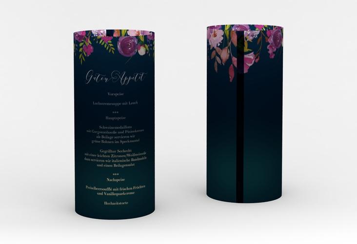 """Windlicht Menü Hochzeit """"Violett"""" Windlicht blau"""