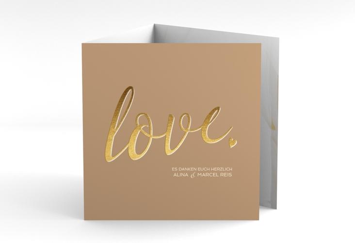 """Dankeskarte Hochzeit """"Glam"""" Quadr. Karte doppelt"""