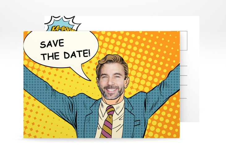 "Save the Date-Postkarte ""Popart Man"" A6 Postkarte"