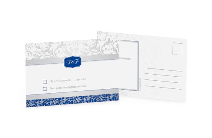 Biglietti risposta matrimonio collezione Latina A6 Postkarte blu