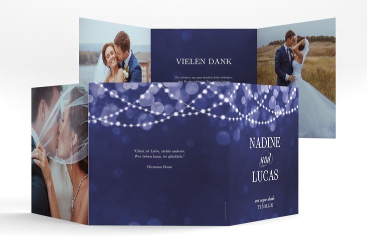 """Dankeskarte Hochzeit """"Lichtspiel"""" Quadr. Karte doppelt blau"""