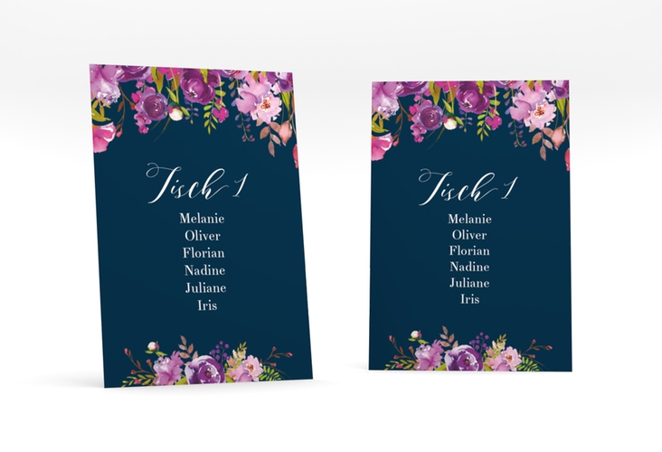 """Tischaufsteller Hochzeit """"Violett"""" Tischaufsteller blau"""