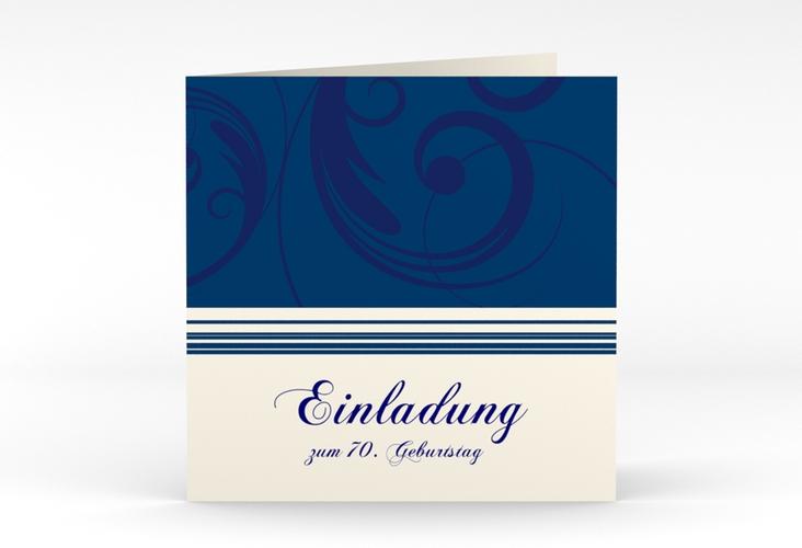 """Einladungskarte """"Katharina"""" Quadratische Klappkarte blau"""