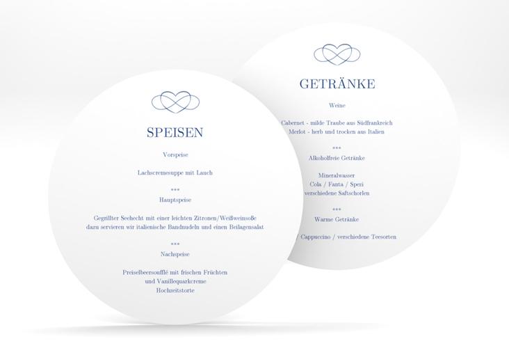 """Menükarte Hochzeit """"Infinity"""" rund"""
