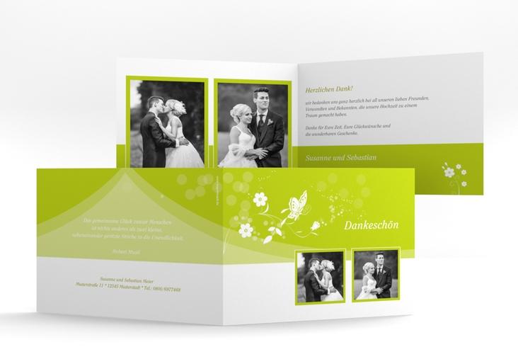 """Danksagungskarte Hochzeit """"Verona"""" A6 Klappkarte Quer gruen"""