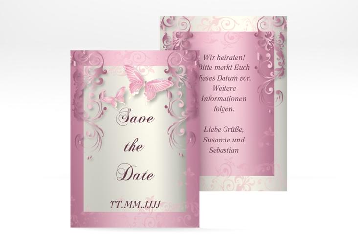 "Save the Date-Visitenkarte ""Toulouse"" Visitenkarte rosa"