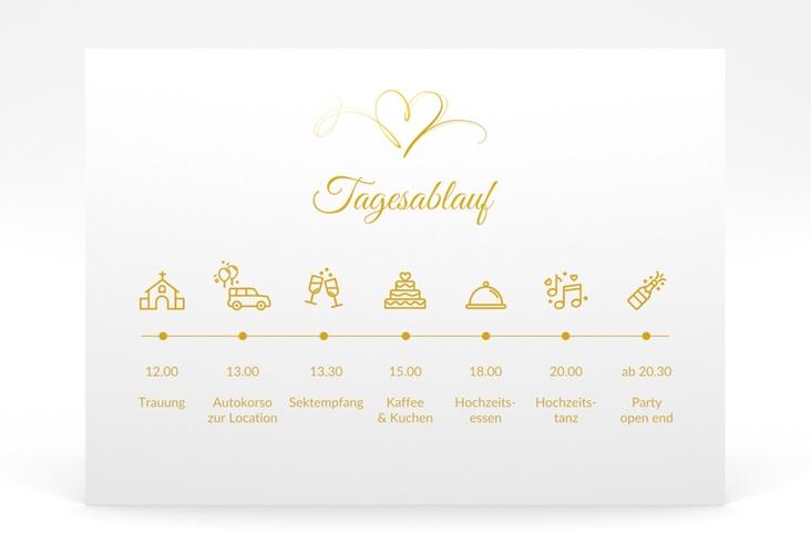 """Tagesablauf Poster Hochzeit """"Envie"""" 70 x 50 cm Poster gold"""