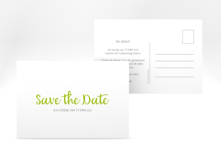 "Save the Date-Postkarte ""Handwriting"" A6 Postkarte gruen"