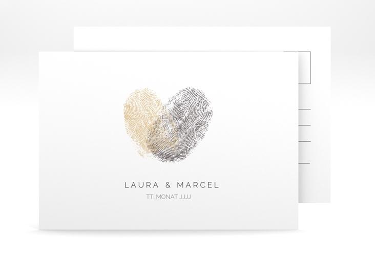 """Antwortkarte Hochzeit """"Fingerprint"""" A6 Postkarte beige"""