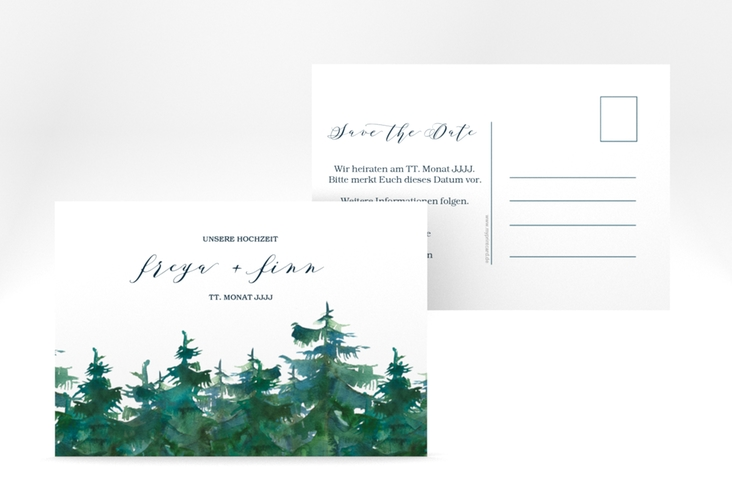 "Save the Date-Postkarte ""Evergreen"" A6 Postkarte weiss"