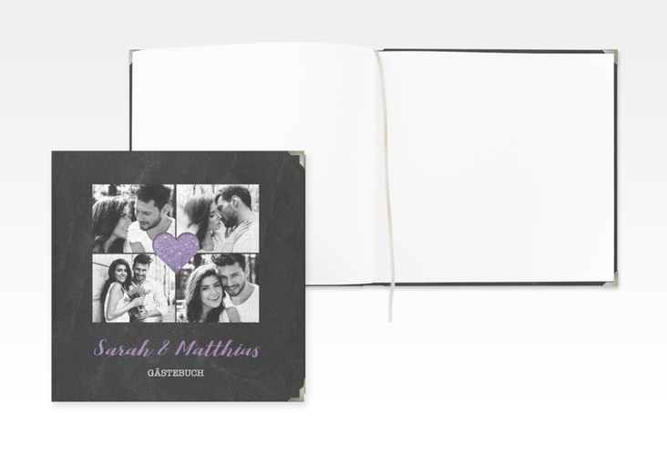 "Gästebuch Selection Hochzeit ""Sparkly"" Leinen-Hardcover lila"
