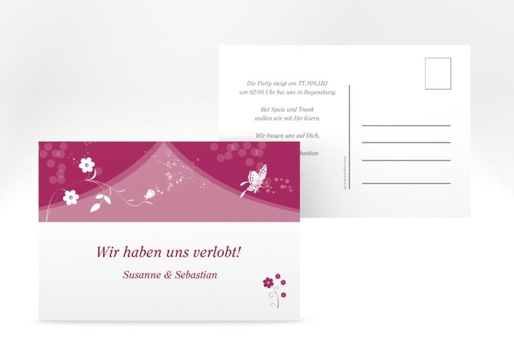 "Verlobungskarte Hochzeit ""Verona"" A6 Postkarte pink"