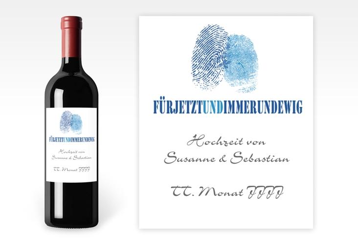 """Weinflaschenetikett Hochzeit """"Messina"""" Etikett Weinflasche 4er Set blau"""