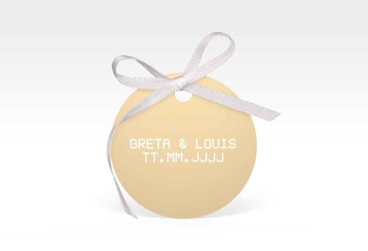 """Geschenkanhänger Hochzeit """"Weddingpass"""" Geschenkanhänger, rund beige"""