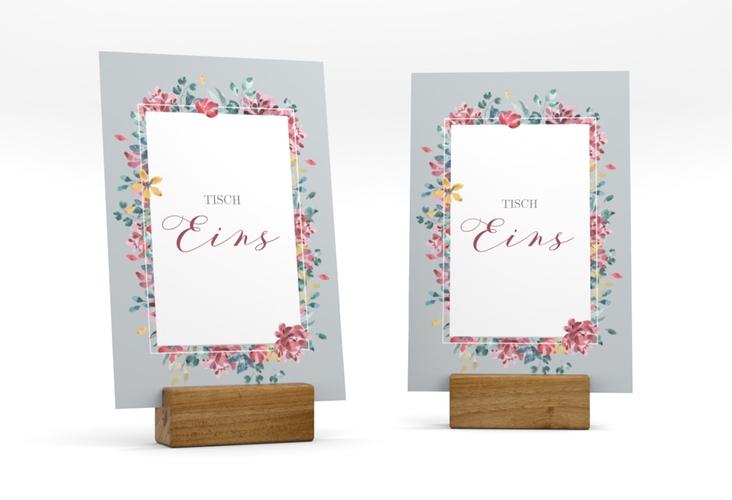 """Tischnummer Hochzeit """"Blumenliebe"""" Tischaufsteller grau"""
