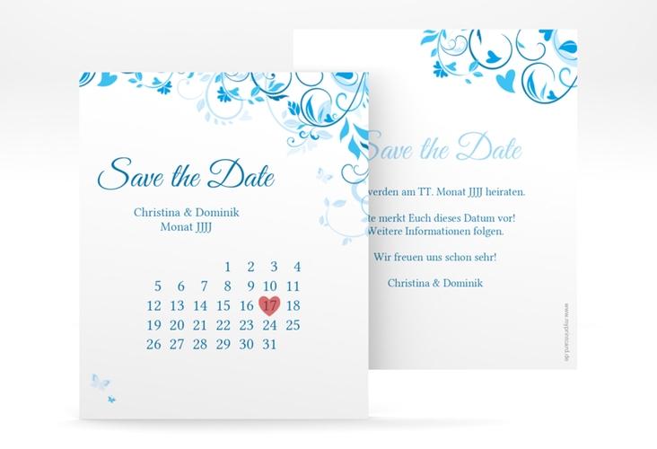 "Save the Date-Kalenderblatt ""Lilly"" Kalenderblatt-Karte blau"