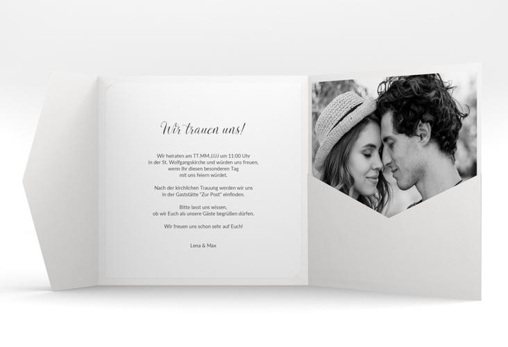 """Hochzeitseinladung """"Herzensbund"""" Pocketfold weiss"""