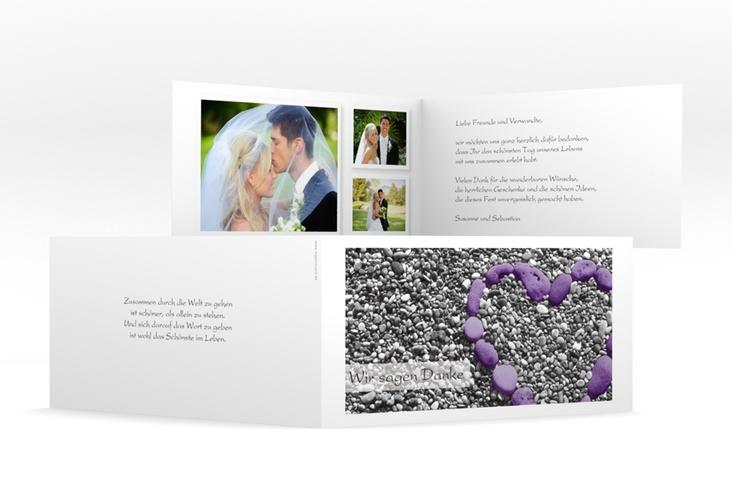 "Dankeskarte Hochzeit ""Bilbao"" DIN lang Klappkarte lila"