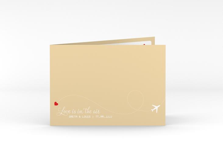 """Hochzeitseinladung """"Weddingpass"""" A6 Klappkarte Quer beige"""