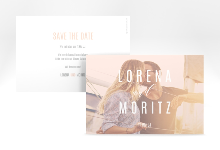 "Save the Date-Karte ""Memory"" A6 quer rosa"