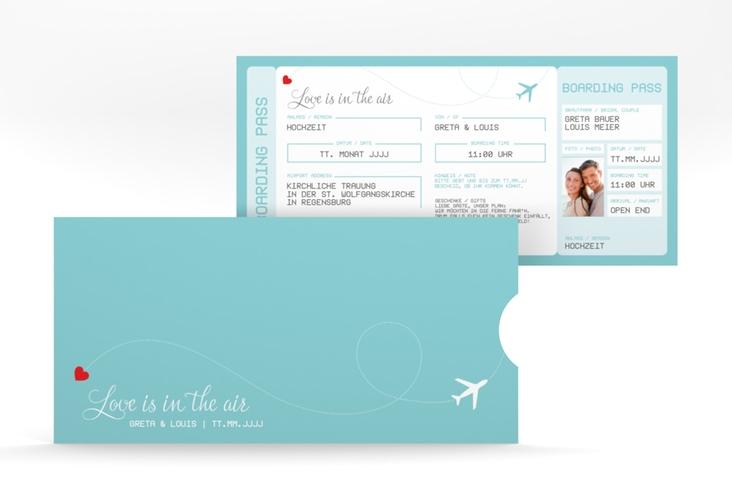"""Hochzeitseinladung """"Weddingpass"""" Einsteckkarte blau"""