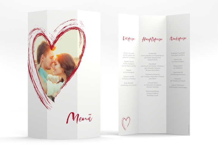 "Menükarte Hochzeit ""Liebe"" DIN A4 Wickelfalz rot"
