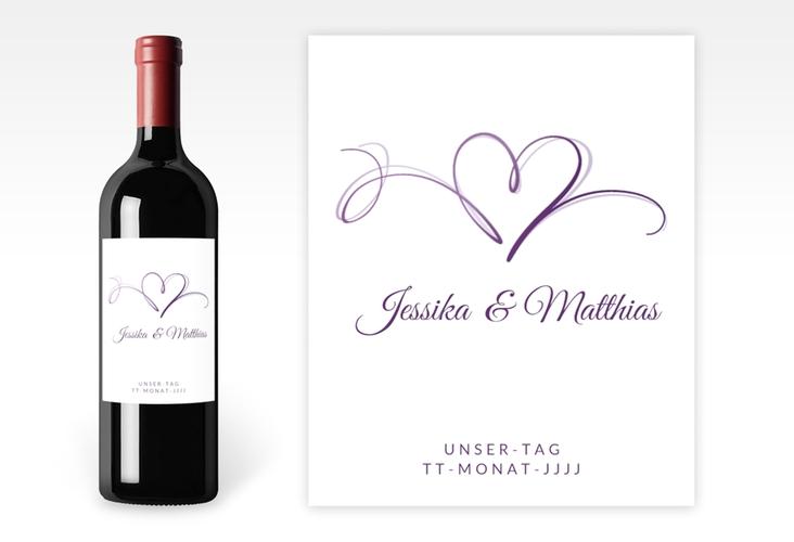 """Weinflaschenetikett Hochzeit """"Envie"""" Etikett Weinflasche 4er Set lila"""
