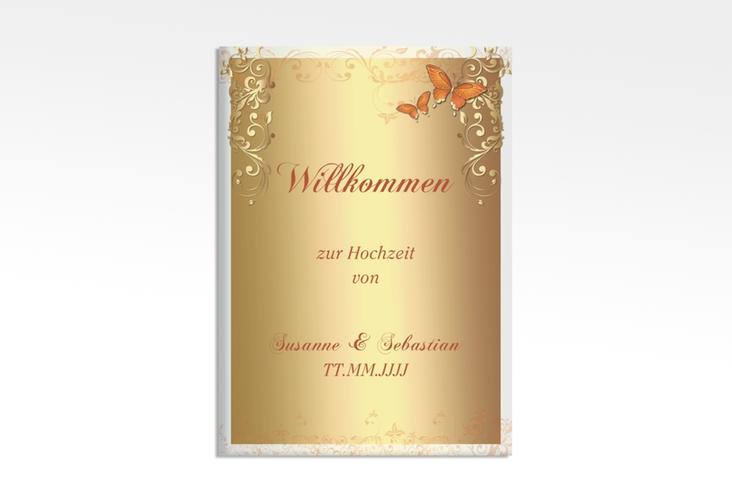 "Willkommensschild Leinwand ""Toulouse"" 50 x 70 cm Leinwand orange"