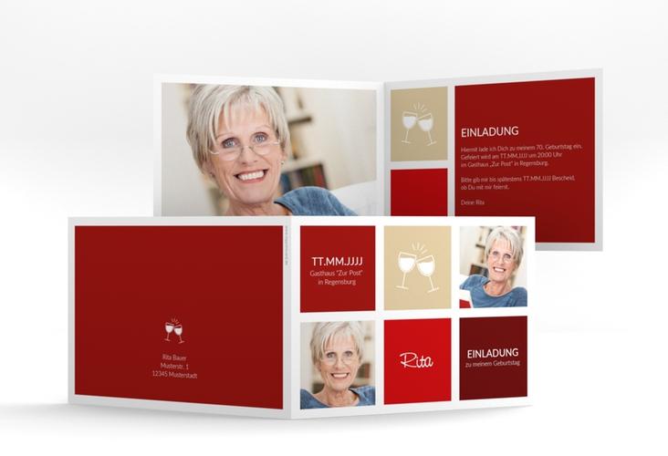 """Einladungskarte """"Celebration"""" A6 Klappkarte Quer rot"""