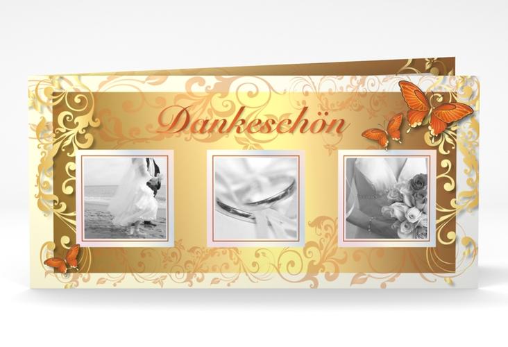 "Dankeskarte Hochzeit ""Toulouse"" DIN lang Klappkarte orange"