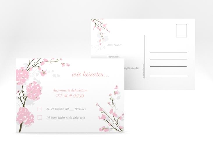 """Antwortkarte Hochzeit """"Salerno"""" A6 Postkarte rosa"""