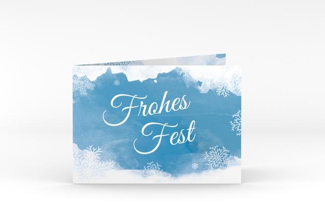 Weihnachtskarte Eisblume A6 Klappkarte Quer