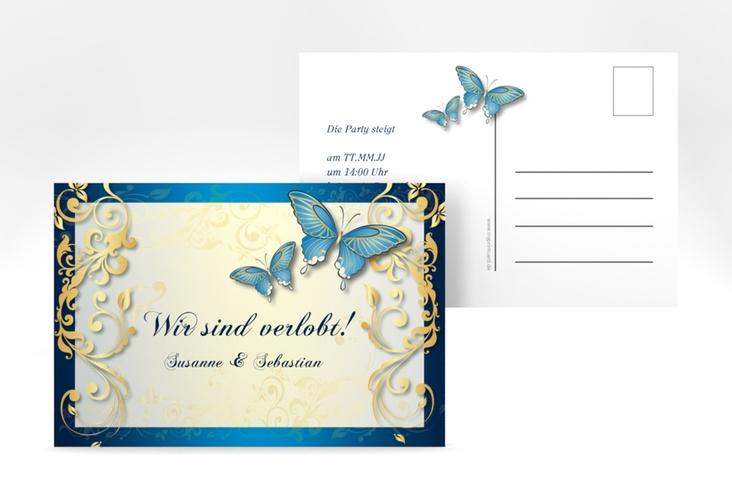 "Verlobungskarte Hochzeit ""Toulouse"" A6 Postkarte blau"