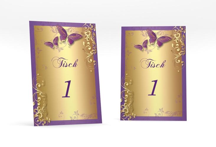 """Tischnummer Hochzeit """"Toulouse"""" Tischaufsteller lila"""