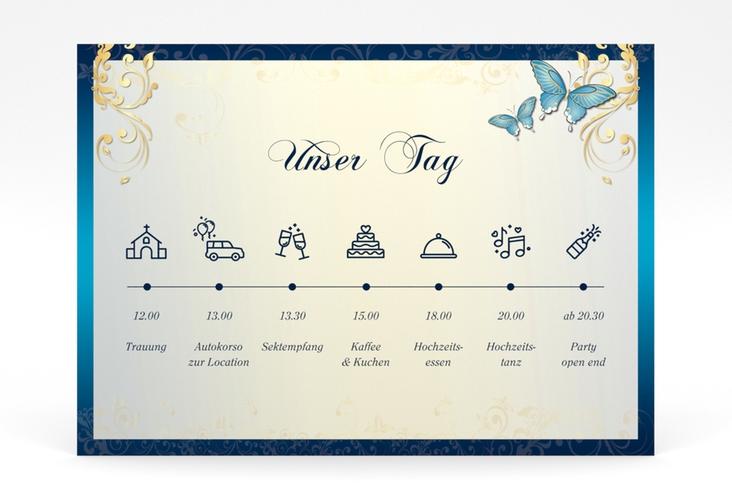 """Tagesablauf Poster Hochzeit """"Toulouse"""" 70 x 50 cm Poster blau"""