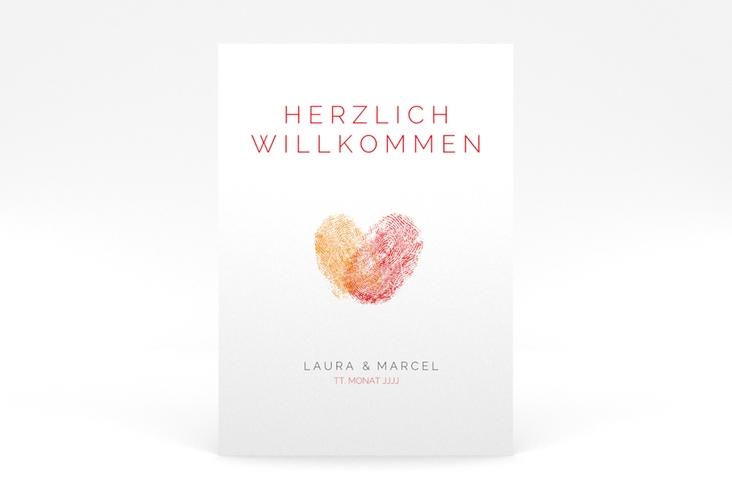 """Willkommensschild Poster """"Fingerprint"""" 50 x 70 cm Poster rot"""