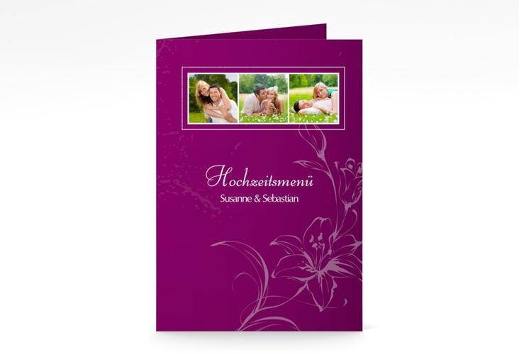 """Menükarte Hochzeit """"Lille"""" DIN A5 geklappt pink"""