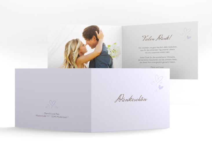 """Danksagungskarte Hochzeit """"Purity"""" A6 Klappkarte Quer flieder"""