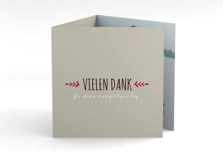 """Dankeskarte Hochzeit """"Eden"""" Quadr. Karte doppelt rot"""