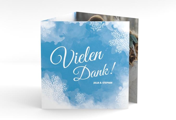 """Dankeskarte Hochzeit """"Frozen"""" Quadr. Karte doppelt blau"""