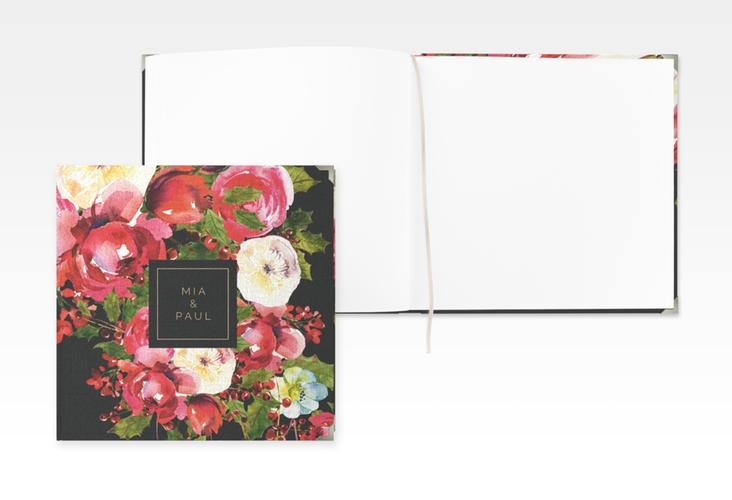 """Gästebuch Selection Hochzeit """"Blumenpracht"""" Leinen-Hardcover schwarz"""