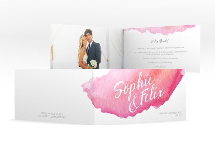 "Dankeskarte Hochzeit ""Aquarella"" DIN lang Klappkarte rot"