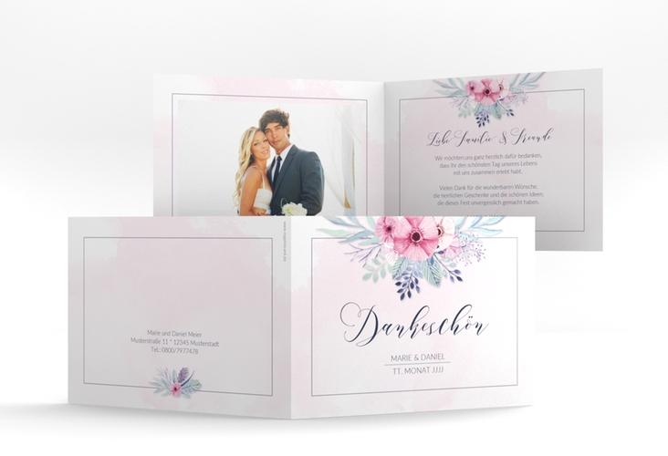 "Dankeskarte Hochzeit ""Surfinia"" A6 Klappkarte Quer rosa"